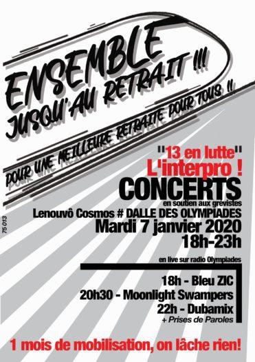 Concert de soutien aux grévistes (Dubamix, Bleu ZIC, Moonlight Swampers)