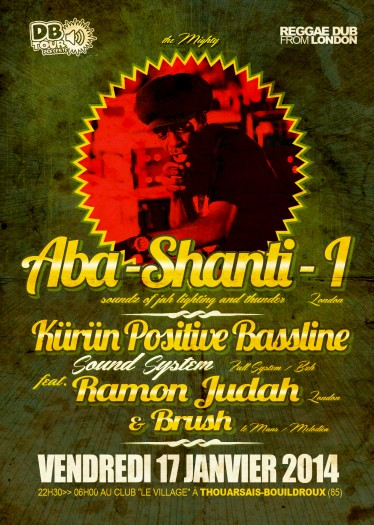 "Flyer  Dub Night  "" Le Village"" ABA SHANTI I"