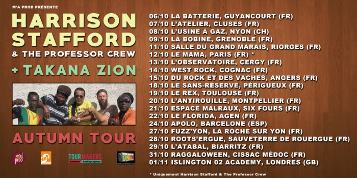 Harrison Stafford & The Professor Crew + Takana Zion @ L'Antirouille